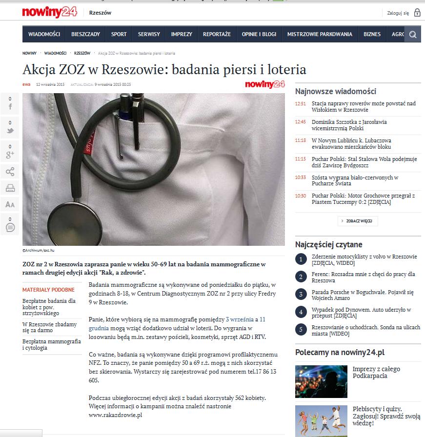 12.09.2015 r - nowiny 24.pl - rak a zdrowie